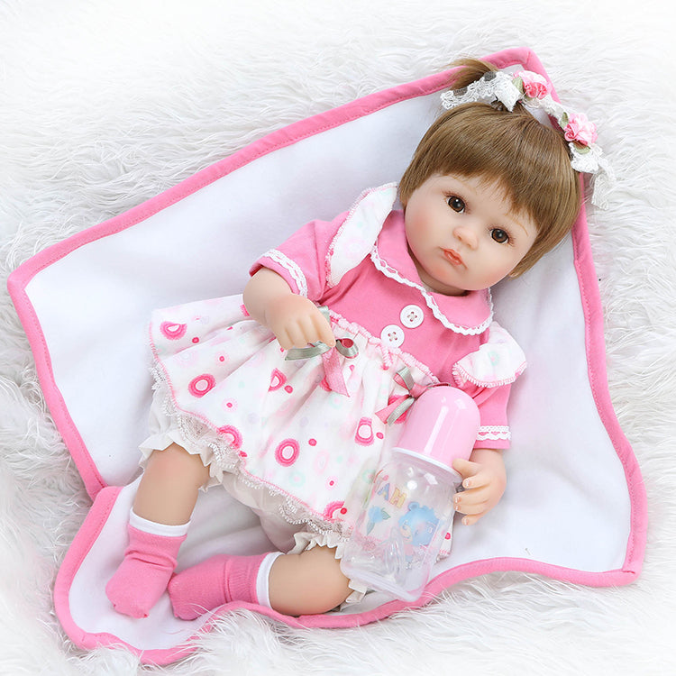 "18"" baby-reborn girl dolls soft body silicone reborn babies children"