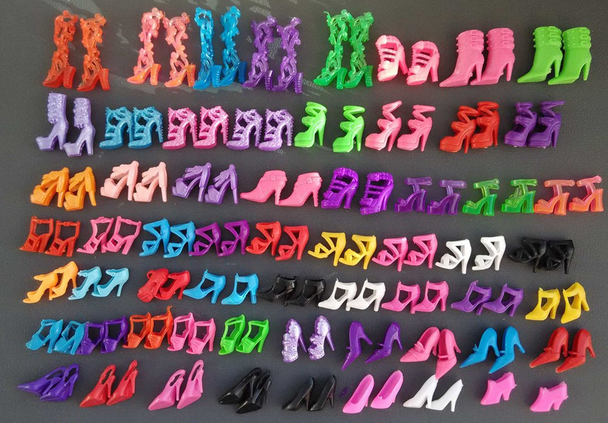 60 Pairs/set Fashion Heels Sandals Doll Shoes For Barbie Dolls