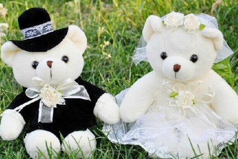 Kawaii 1Pair Wedding Bear Plush TOY;  Gift Bride & Groom Bear Bouquet DOLL TOY ; Plush Stuffed TOY 10CM Soft Figure DOLL TOY