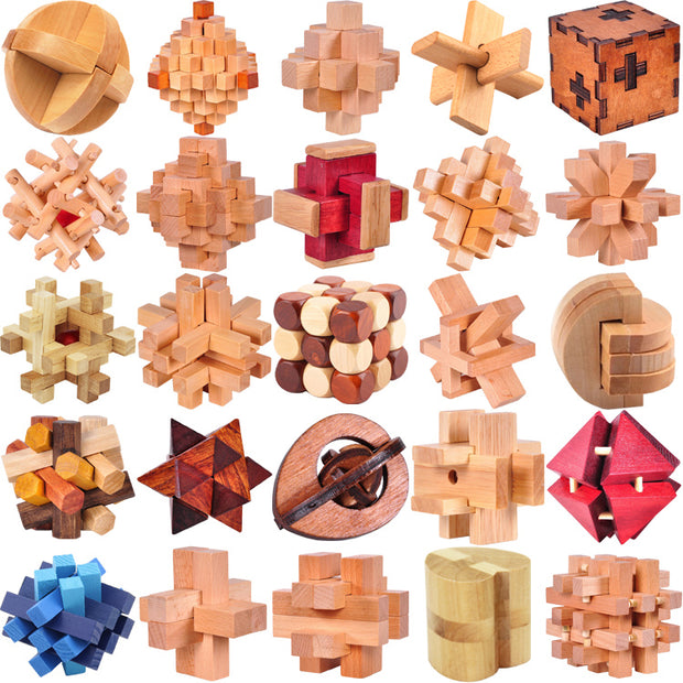 Classic IQ Wooden Puzzle Mind Brain Teasers Burr Puzzles Game Toys for