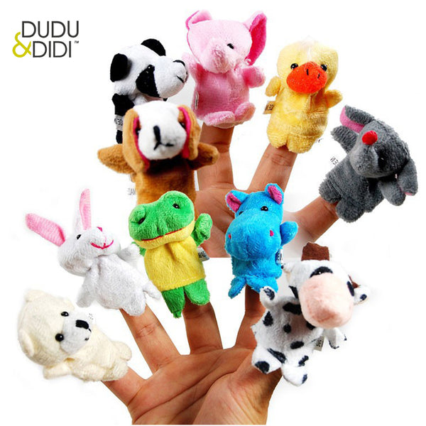10 pcs/lot, Baby Plush Toy/ Finger Puppets/Tell Story Props(10 animal group) Animal Doll /Kids Toys /Children Gift WJ208