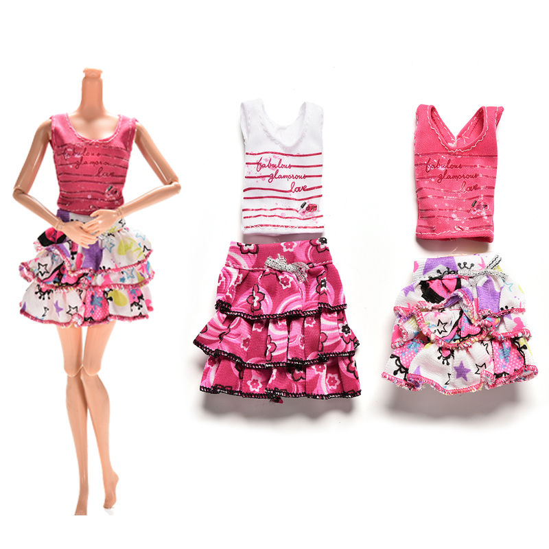 2 Pcs/set Skirt Short-sleeved T-shirt for Barbies Kids Doll Clothes