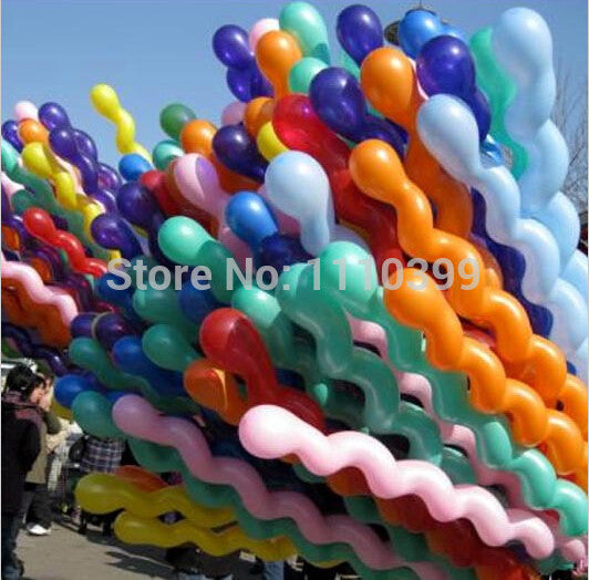 10pcs/lot  10x Helium Spiral Balloons Latex Mix Colors Birthday