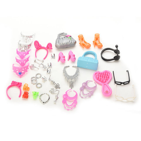 Accessories for Barbie Doll Set of Fashion Jewelry Necklace Earring Bowknot Crown Accessory Dolls Kids Gift