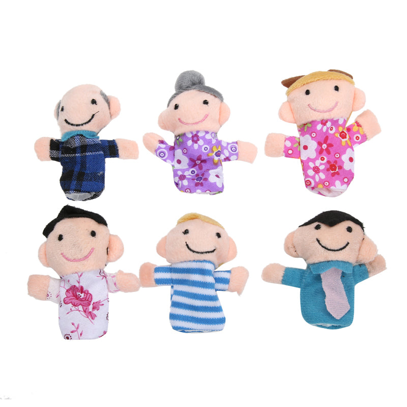 6Pcs Lovely Kids Baby Favor Plush Velour Hand Puppets Family Animals