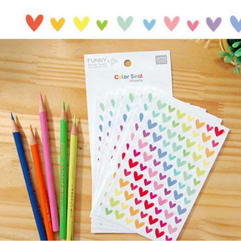 Colorful Dot Love Stars Shape Funny Toy Sticker Kids Paper Diary Journal Scrapbook Decorative Stickers for Children Classic Toys