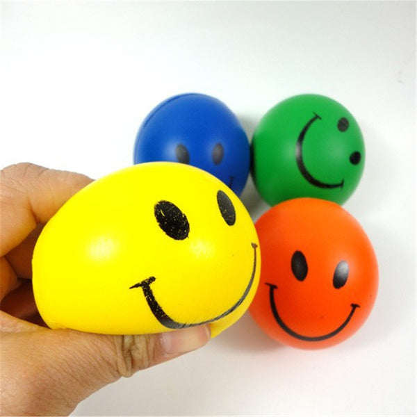 12PCS 6.3cm Smile Face Print Sponge Foam Ball Squeeze Stress Ball