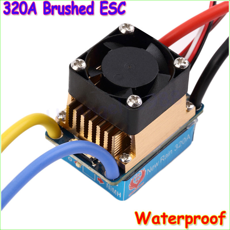 1pcs Waterproof Brushed ESC 320A 3S with Fan 5V 3A BEC T-Plug For 1/10