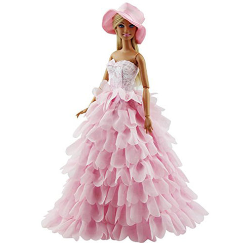 Princess Evening Party Clothes Wears Dress Outfit Set for Barbie with Hat Great Christmas Gift Elegant Dress for Barbie Doll