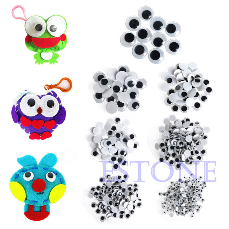 520PCS 6-20mm Wiggly Wobbly Googly Eyes Self-adhesive Scrapbooking