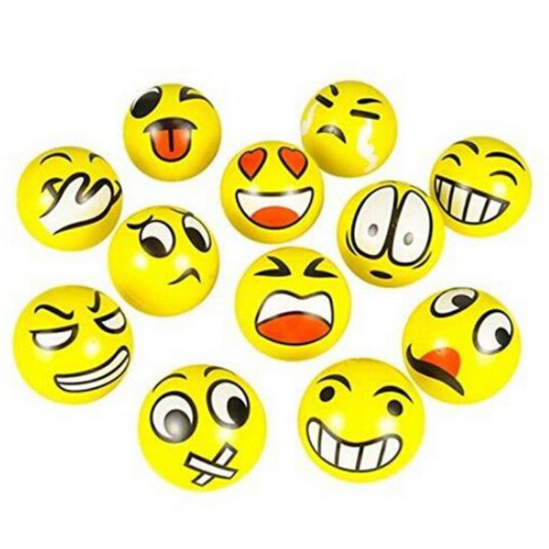 12pcs/set Emoji Faces Squeeze Stress Ball Hand Wrist Finger Exercise