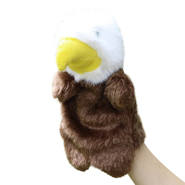 Animal Hand Puppet Baby Plush Toys Parrot Eagle Duck Wolf Doll Baby