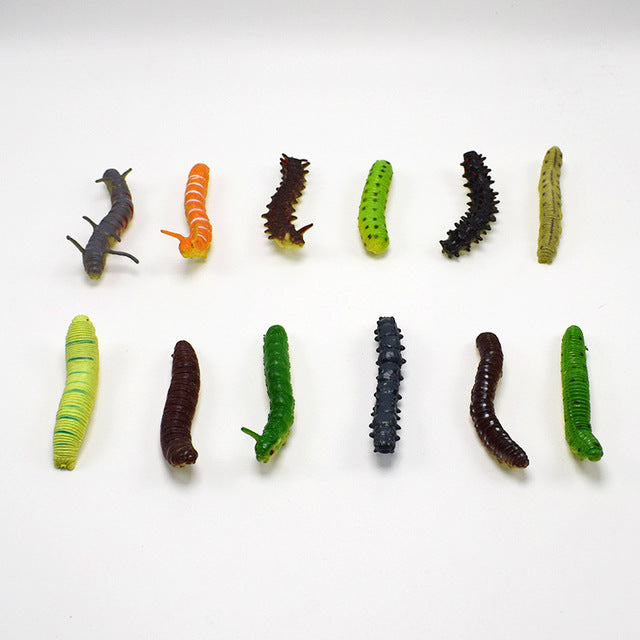 12PCS/lot Props Practical Joke Insect Bug Toy Maggot Vegetable Worm