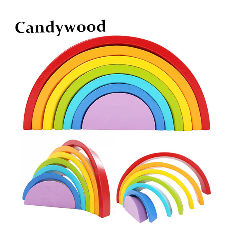 7Pcs/Lot Colorful Wood Rainbow Building Blocks Toys Wooden Blocks