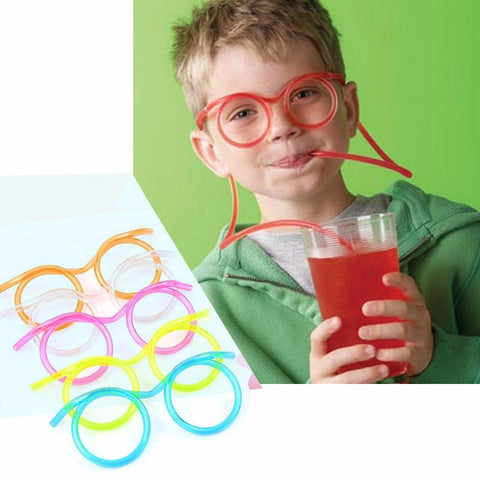 2Pcs/lot Unique Flexible Novelty Straw Glasses Drinking Tube Fun
