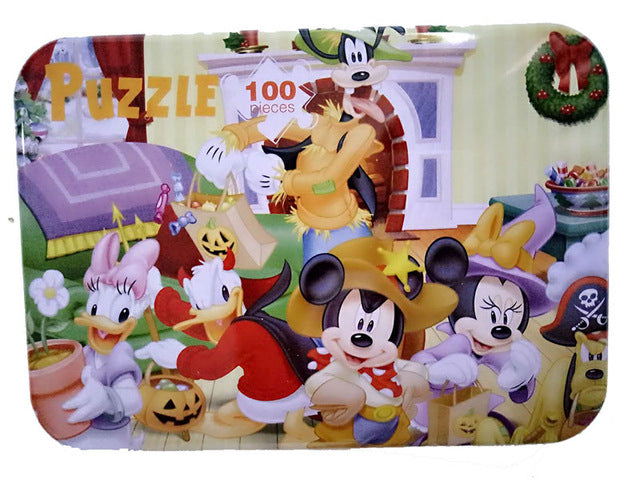 100pcs/set Wooden Puzzle Cartoon Toy 3D Wood Puzzle Iron Box Package