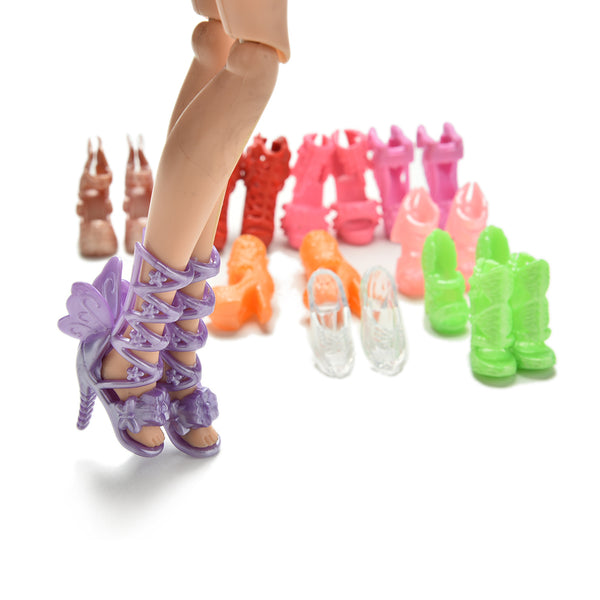 20Pcs=10Pairs Doll Shoes Bandage Bow High Heel Sandals for Barbies Toys Fixed Styles Color Random