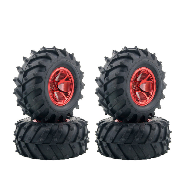 4PCS RC Monster Truck Wheel Rim Tires Kit for 1:10 Traxxas Tamiya HSP HPI Kyosho RC Trucks Car Rubber Tyre Parts