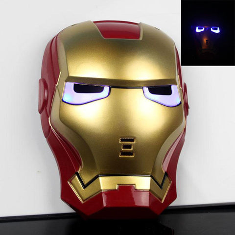 2017 New Cartoon Mask The Avengers Superhero LED Iron Man Mask Action Figure Model Toys Halloween Cosplay Gift For Adult & Child
