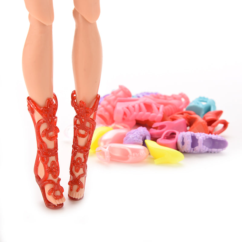 12 Pairs =24 Pcs Lovely Dolls Shoes Bangdage High Heels Sandals For