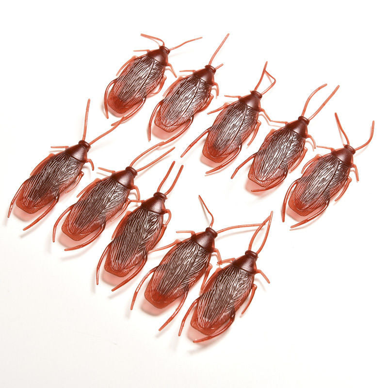10pcs/lot Cockroach Plastic Bugs Gags & Practical Jokes Toys For April