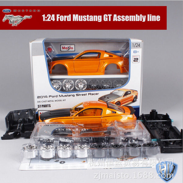 1:24 Scale kids Maisto Mustang SRT8 Camaro Dodge NISSAN GTR metal diecast race car assembly kit line DIY collectible models toys