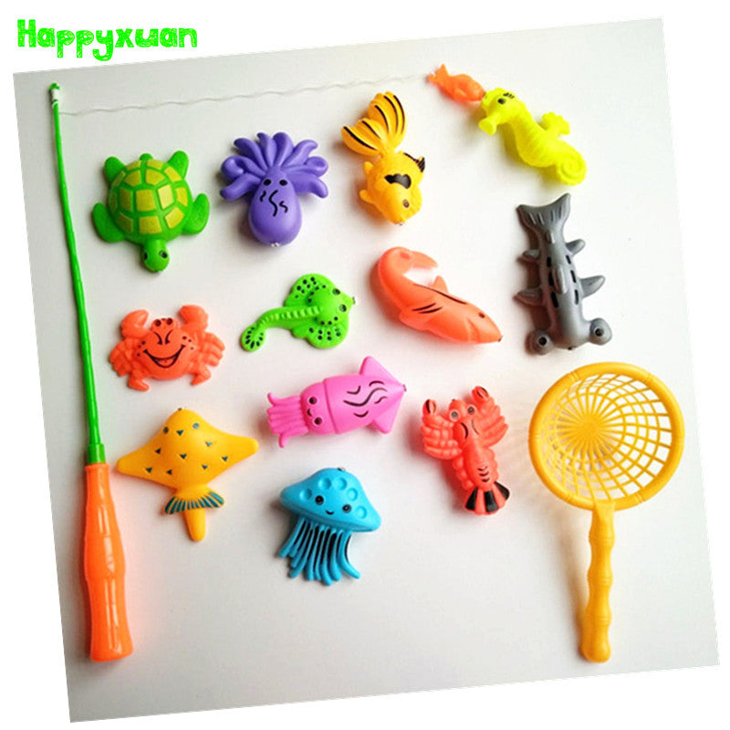 14pcs Set Magnetic Fishing Toy Game Kids 1 Rod 1 net 12 3D Fish Baby