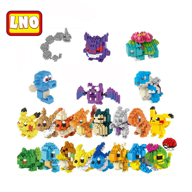 Nanoblock pikachu anime animal action figures micro building blocks