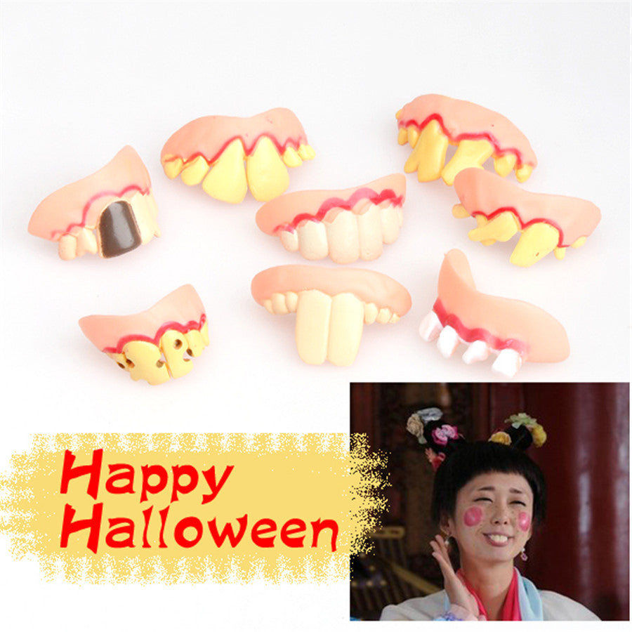 Prank Startle Tooth Halloween Scary Crooked Monster Teeth Novelty Toy