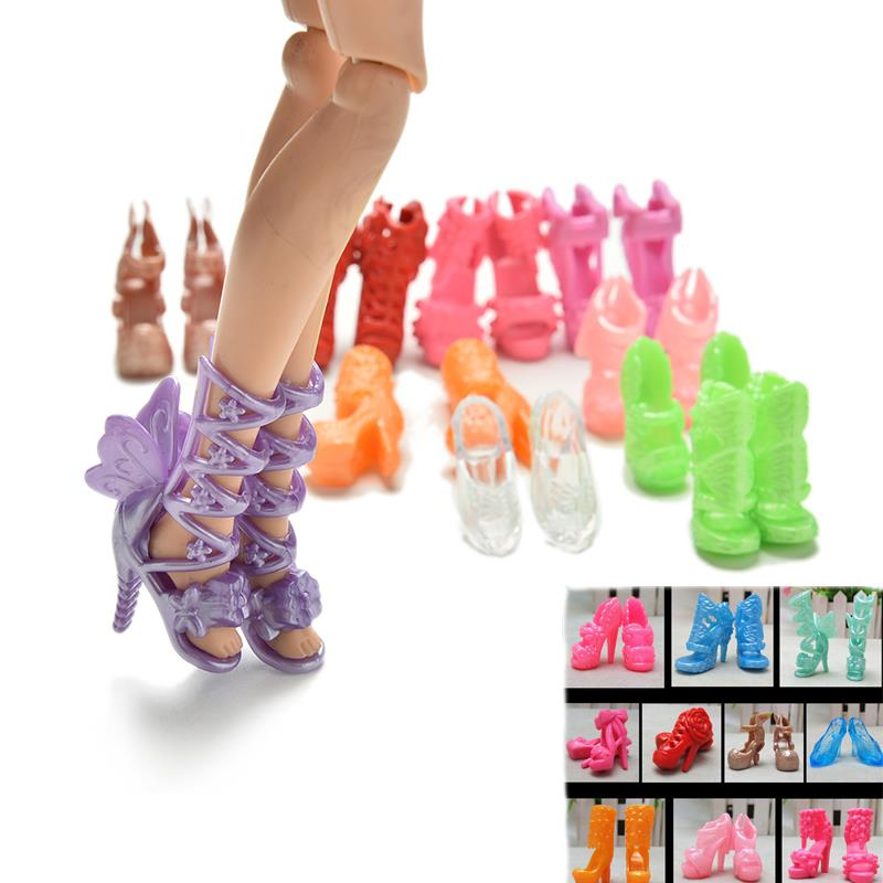 20Pcs Color Random Mini Fashion Fixed Styles Doll Shoes Bandage Bow