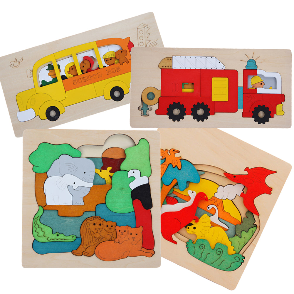 1 Set Wooden Puzzle Toys Kids Dinosau Animal Transport