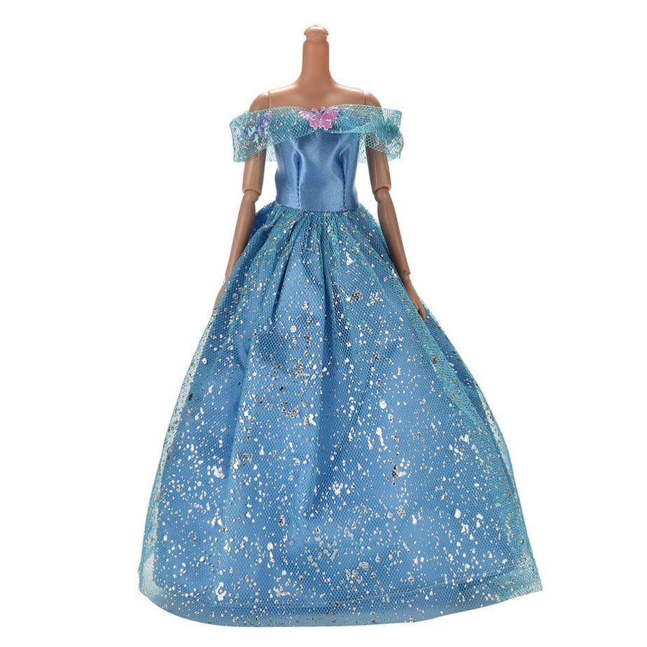 2016 New Fashion Clothing Gown For Barbie Doll Blue Color Handmake ...