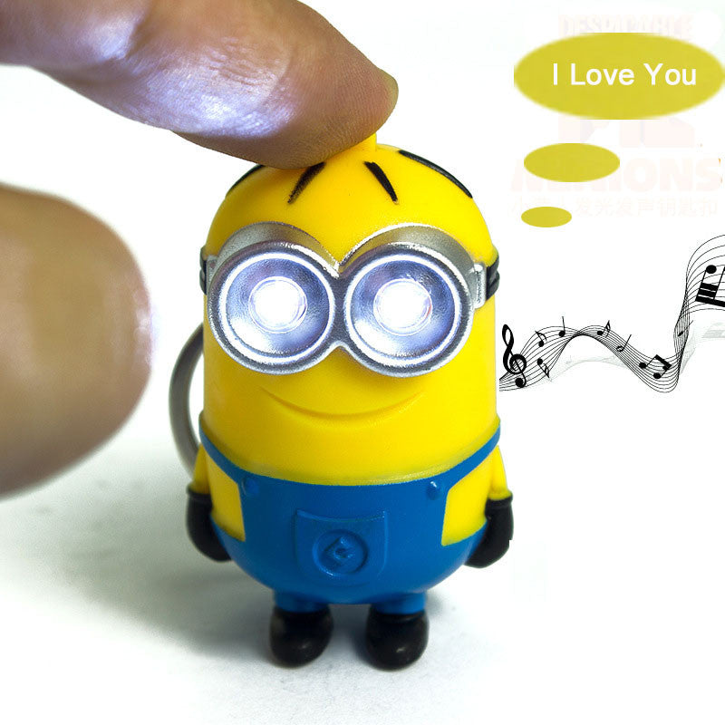 1PCS Cute Cartoon Movie Mini Led Lighting 3D Minion Toys Keychains
