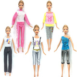 NK Newest 5 piece / lot Super beautiful Autumn clothing fashion casual wear clothes for barbie doll Free Shipping