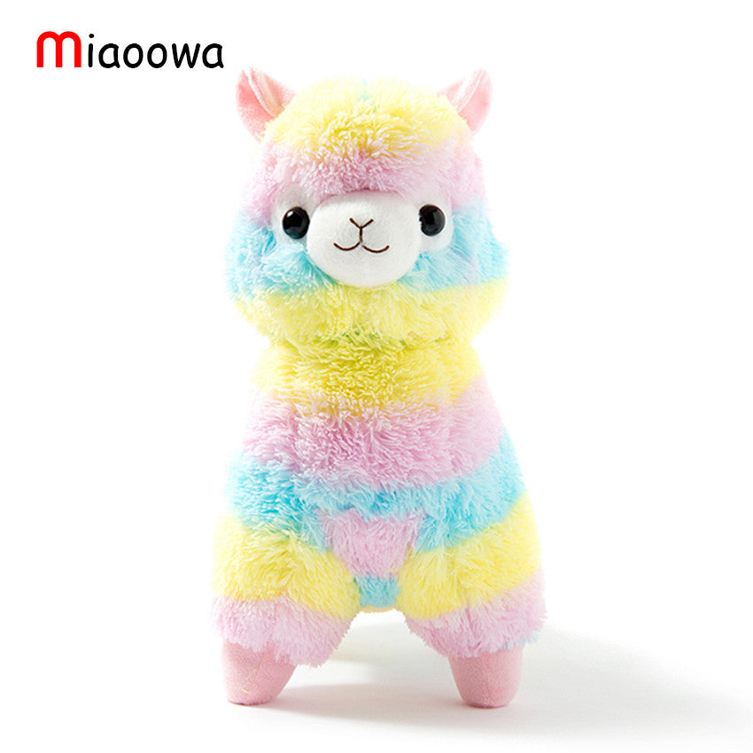 "2015 New! 1pcs 13.8"" 35cm Rainbow Alpaca Plush Toy Japanese Soft Plush"