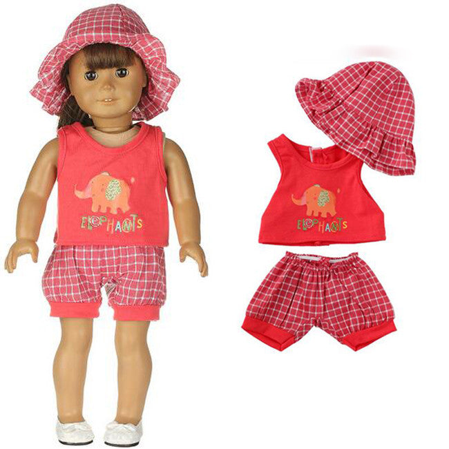 "18"" doll outfit Red vest + Short Pant + Sun Hat fit 43cm Baby Born"