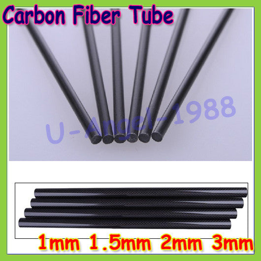 16pcs/lot New Carbon Fiber Rods for RC Plane DIY tool wing tube Quadcopter arm 1mm 1.5mm 2mm 3mm (0.5 meter) Wholesale
