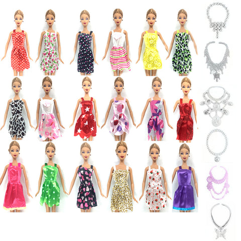 NK Hot Sell 16 Item/Set=10 Pcs Mix Sorts Beautiful Party Clothes Fashion Dress+6 Plastic Necklace For Barbie Doll Best Gift Toys