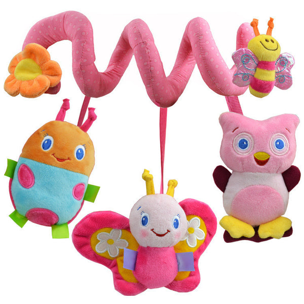 1pc Pink Bee Baby Rattles Stroller Multifunctional Bed Hanging Toy Newborn Music Bed Animal Plush Toys Educational Toy
