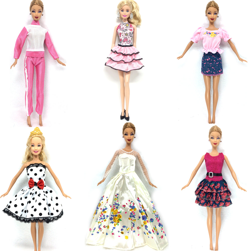 NK 6 Set/Lot Hot Sell Doll Outfits Top Fashion Dress Party Gown