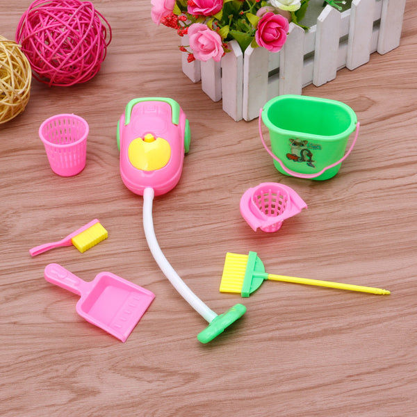 6Pcs Home Furniture Furnishing Cleaner Cleaning Kit For Barbie Doll House Gift Hot