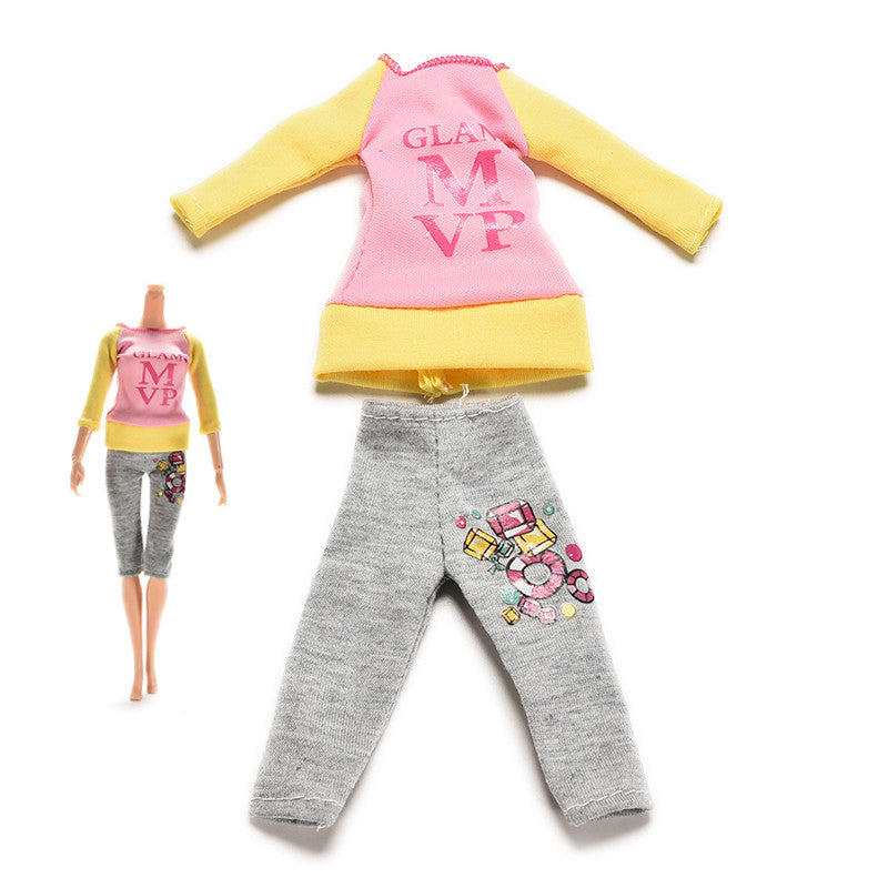 2 Pcs/set Fashion Casual Clothes Spring Autumn Suit for Barbie Doll