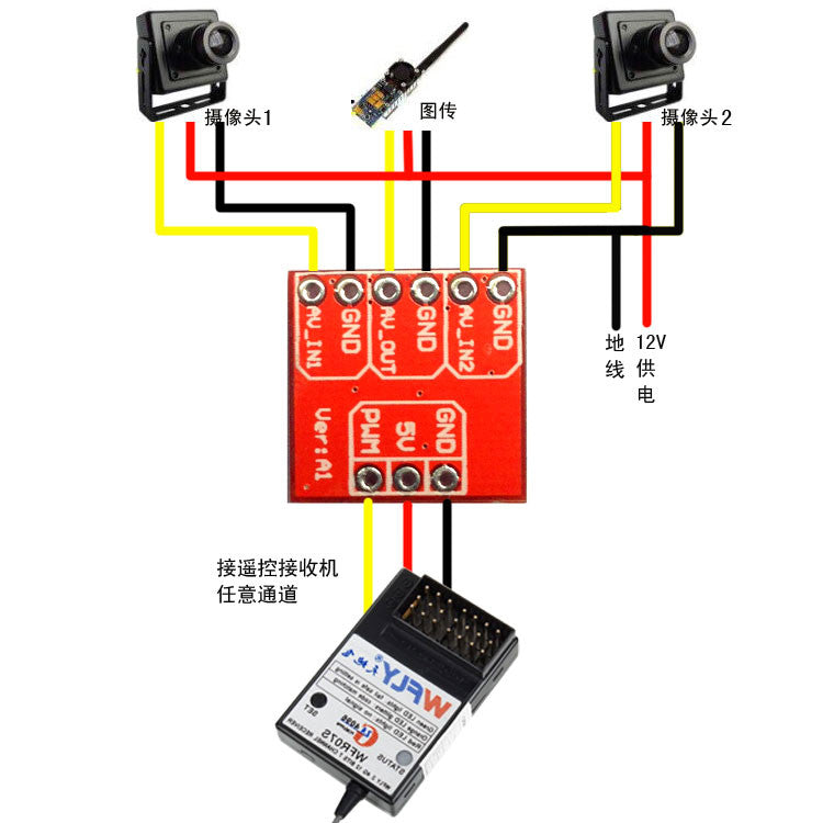 Mini 2 Ways Video Switcher Module 2 Channels Video Switch Unit for FPV