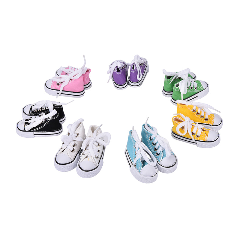 Doll Accessories Assorted Colors 7.5cm Canvas Shoes For 1/4 BJD Doll &
