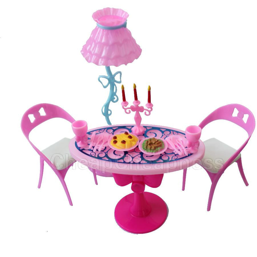 1 set Vintage Table Chairs For Dolls Furniture Dining Sets Toys For