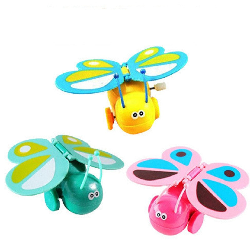 1Pcs Cartoon Plastic Wind Up Toys Colorful Chain Clockwork Butterfly