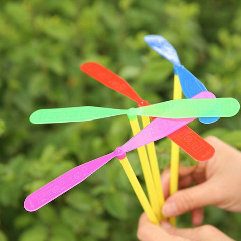 12pcs Novelty Plastic Bamboo Dragonfly Propeller Outdoor Toy Kids Gift