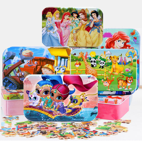 (with Iron Box) 60pcs/set Wooden Puzzle Cartoon 3D Wood Puzzle Jigsaw wood toys for Children Early Educational Montessori Toys