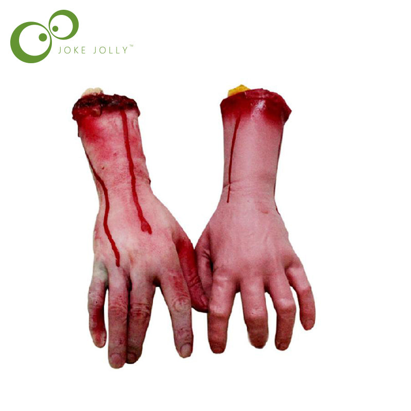1pc Horror trick Toy Scary Prop Latex Stump Bloody Cut Hand Bone