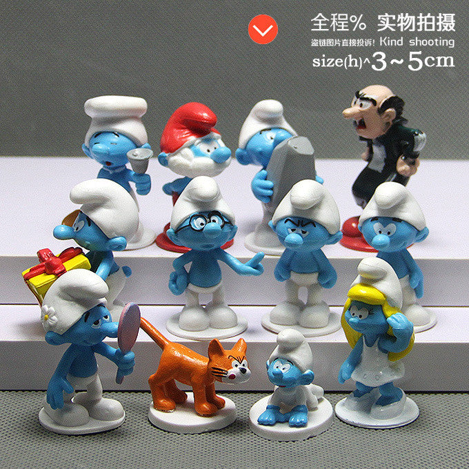 12pcs /lot High quality The Elves Papa Smurfette Clumsy Figures